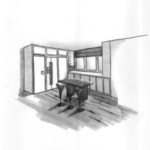 Esquisse de l'Appt A. par l'agence d'Architecture Brayer-Hugon à Nîmes