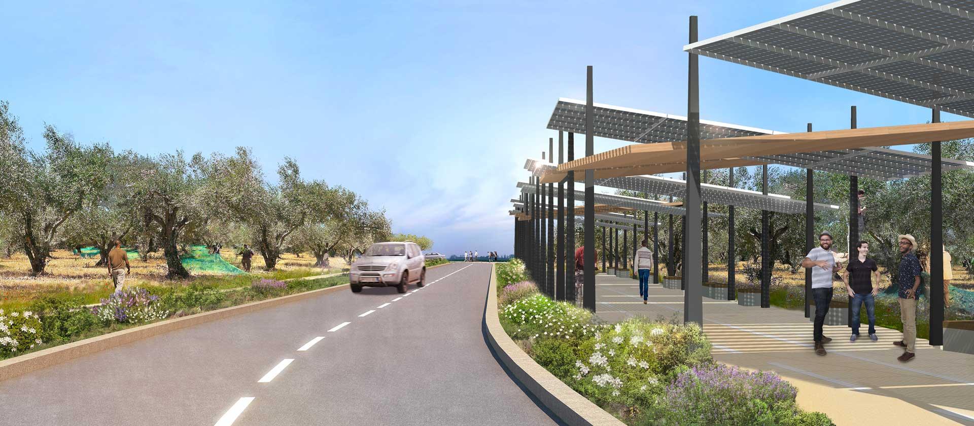 Promenade gare TGV Nîmes Pont du Gard : concours et énergies renouvelables gare TGV Nîmes Pont du Gard : l'agence remporte le concours